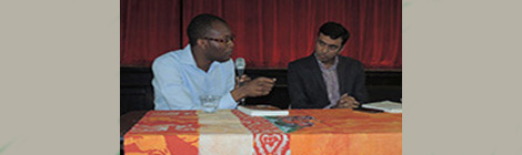 Avishek Ganguly hosted a literary discussion with Fiston Mwanza Mujila, author of TRAM 83